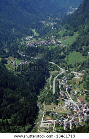 Panoramic view from Colle Santa Lucia (Dolomites, Belluno, Veneto, Italy), at summer. Green valley