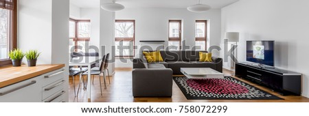 Panoramic view from kitchenette to open living room in modern designed apartment