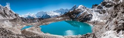 Panoramic view from Kongma La (5,528 m) facing to Dingboche with Himalayan Mountains such as Makalu & Ama Dablam with turquoise lake, Sagarmatha national park, Everest Base Camp 3 Passes Trek, Nepal