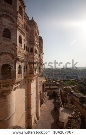 Panoramic view from  Mehrangarh Fort to Jodhpur (blue city), Rajasthan, India