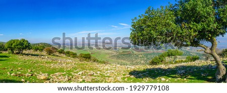 Panoramic view from Mount Evyatar in the Upper Galilee towards the Hula Valley and the Golan Heights. Northern Israel ストックフォト ©