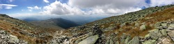 Panoramic view from Mount Washington, White Mountains, New Hampshire - along the Appalachian Trail - with dramatic sky