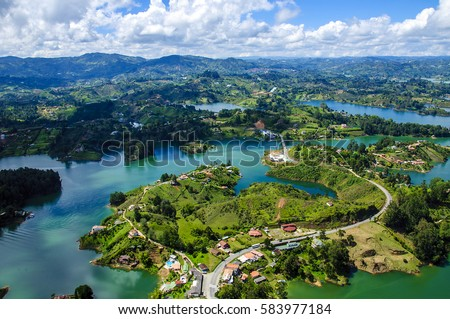 Panoramic view from Rock of Guatape in  Medellin, Colombia #583977184