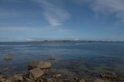 Panoramic View from the Coastline Across the Sea from Old Grimsby on the Island of Tresco in the Isles of Scilly, England, UK
