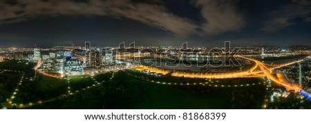 Panoramic view from the Donauturm at Vienna city and Vienna International Center