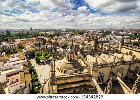 Panoramic view from the La Giralda tower of Seville Cathedral, Andalusia, Spain
