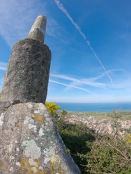 Panoramic view from the Picotinho or Pitoquinho (geodetic vertex). Beautiful aerial vibrant view of Esposende in Portugal. View from the Portuguese coastline with the Atlantic ocean.