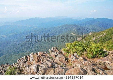 panoramic view from the Stony Man Trail, Shenandoah National Park, Virginia