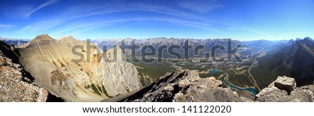 Panoramic view from the Summit of East Rundle Canmore, Alberta, Canada