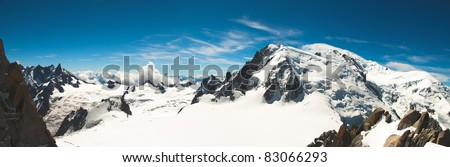 Panoramic view from the top of Mont-Blanc in summer