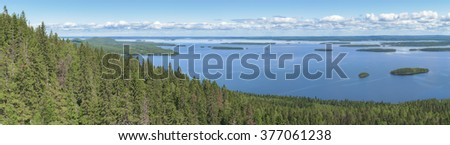 Panoramic view from the top of the Koli national park to lake Pielinen
