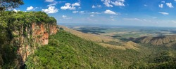 Panoramic view from top of cliffs in the afternoon light to valley, drone photography, Chapada dos Guimarães, Mato Grosso, Brazil, South America