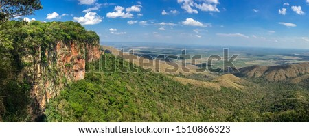 Photo of  Panoramic view from top of cliffs in the afternoon light to valley, drone photography, Chapada dos Guimarães, Mato Grosso, Brazil, South America
