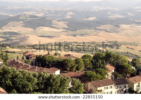 Panoramic view from Volterra (Pisa, Tuscany, Italy) at evening
