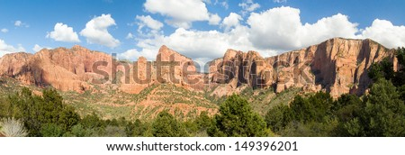 Panoramic view in the Kolob Canyons District of Utah\'s Zion National Park including Timber Top Mountain, Horse Ranch Mountain, Pariah Point, Beatty Point, and Nagunt Mesa.