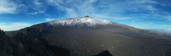 Panoramic view in virtual reality at 180 degrees of the Etna volcano with its lava flows and the Bove valley in autumn. Sicily Italy.