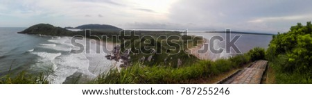 Panoramic view of a cape and beaches, Ilha do Mel, Brazil