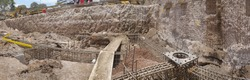 Panoramic view of a huge shaft foundation  Foundation plan with footings, and wire mesh in walls