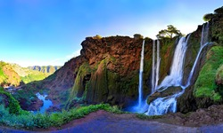 Panoramic view of a large waterfall in Morocco. Ouzoud waterfall in the Atlas Mountains.