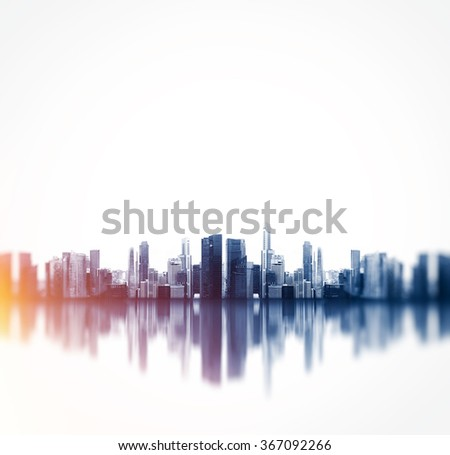 Panoramic view of a megalopolis with reflection. Square #367092266