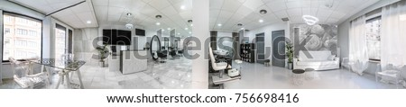 Panoramic view of a modern bright beauty salon. Hair salon and pedicure interior business #756698416