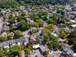 Panoramic view of a neighborhood in roofs of houses of residential area of Lambertville NJ USA near the historic city New Hope Pennsylvania