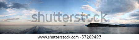Panoramic view of a sea in morning #57209497