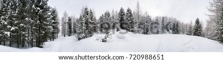 Panoramic view of a snowy landscape in Alps in the Aosta Valley region of northwest Italy. Black and white #720988651