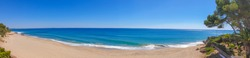 Panoramic view of a sunset at the Costa Dorada, with beautiful blue sky,  clouds,no people at the beach, pine trees and sandy beach, mobile photo