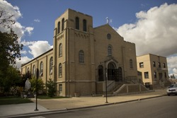 panoramic view of a traditional United States church, St Turibius Catholic Church