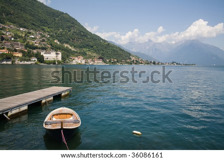 Panoramic view of a village on the northern area of Lake Como (Italy).