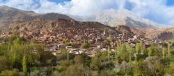 Panoramic view of Abyaneh village in highlands, Natanz County, Isfahan province, central Iran.