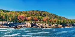 Panoramic view of Acadia National Park in foliage season, Maine, USA.