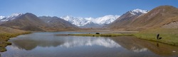 Panoramic view of Achik Tash basecamp of Lenin Peak nowadays Ibn Sina peak in snow-capped Trans-Alai mountain range in southern Kyrgyzstan with lake and reflection in foreground