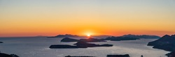 Panoramic view of Adriatic Islands with Dubrovnik old town in sunset hour from top of Mountain Srd