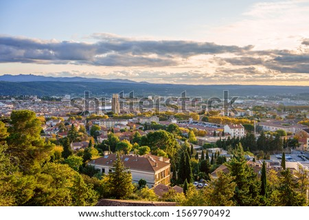 Panoramic view of Aix-en-Provence in autumn. Sunset. France, Provence. Stock photo ©