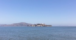 Panoramic view of Alcatraz Island taken from San Francisco in the day, San Francisco, California, United States of America