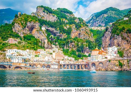 Panoramic view of Amalfi Mediterranean coast, small town with multicolor houses in south of Italy, Gulf of Salerno, Campania