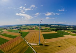 Panoramic View of an electric Enercon windmill in Bavaria. High quality photo