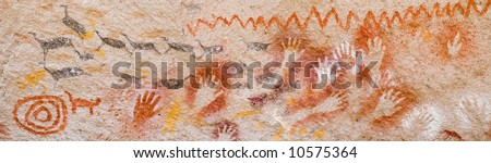 Panoramic view of ancient cave paintings in Patagonia, Argentina.