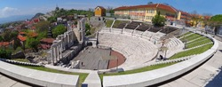 Panoramic view  of Ancient Roman theater in Plovdiv, Bulgaria.