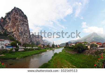 Panoramic view of Arco, Trentino, North-Italy, it is located at the end of the Sarca River valley which flows into Garda Lake. Arco is famous for the rock climbing competition Rock Master.