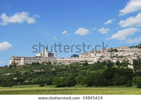 Panoramic view of Assisi with the Basilica of Saint Francis (Italy)