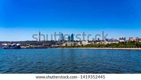 Panoramic view of Baku boulevard, Azerbaijan