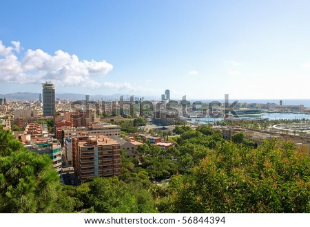 Panoramic view of Barcelona city, Spain.