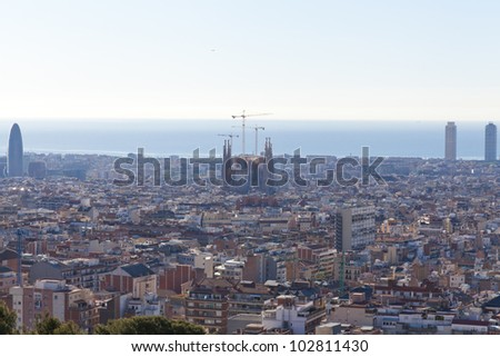 Panoramic view of Barcelona from Park Guell