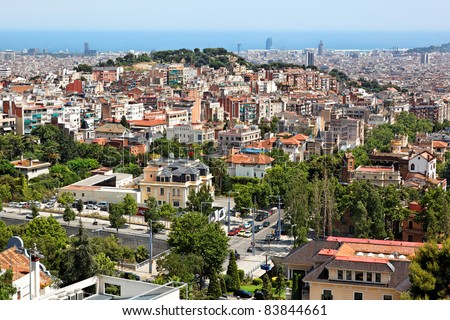 Panoramic view of Barcelona, Spain, Europe