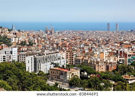 Panoramic view of Barcelona, Spain, Europe