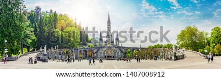 Panoramic View of Basilica Notre Dame in Lourdes