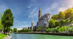 Panoramic View of Basilica Notre Dame in Lourdes France
